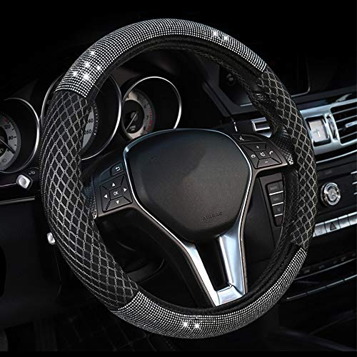 ZHOL Universal 15 inch Steering Wheel Cover Elastic Ice Silk Pink Anti-Slip Warm in Winter and Cool in Summer Breathable Odorless