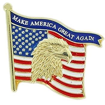 Patriotic Gold Tone Enameled United States Flag Lapel Pin 1 1/8 Inch