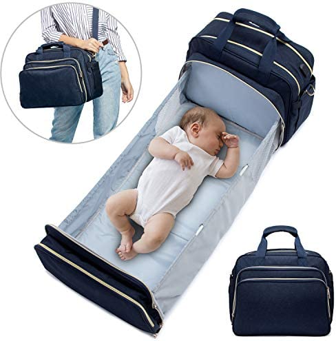 Baby Diaper Bag Backpack with Auto Folding Crib LOVEVOOK Stylish Baby Diaper Bag with Changing product image