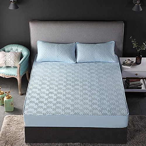 XGguo Funda colchón Microfibra, elástica y Ajustable, Sábana Gruesa de Color sólido con Rejilla Antideslizante Blue_150cm × 200cm