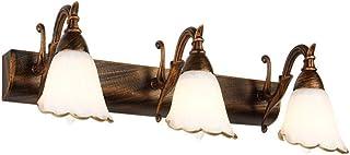 T-TWJQ Vintage forjado espejo de los faros lámpara de pared pasillo pasillo cabecera lámpara de pared luz de la puerta ilu...