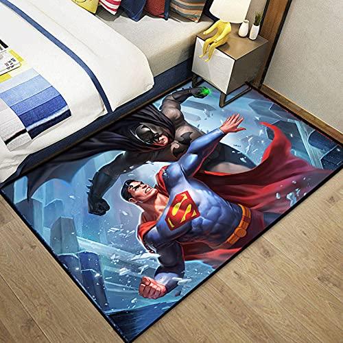 HFDSG Alfombra Rectangular para Dormitorio, Sala De Estar, Habitación para Niños, Dibujos Animados, Anime, Liga De La Justicia, Batman, Superman, Decoración Simple
