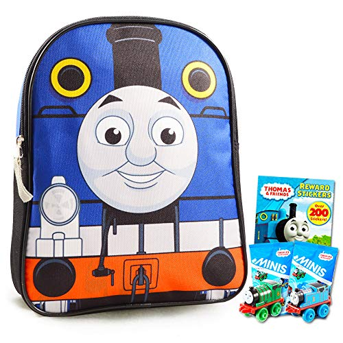 Thomas the Train Backpack Preschool Toddler -- Deluxe 12' Thomas Backpack with 200 Thomas Stickers and 2 Thomas Mini Trains Blind Bags (Thomas and Friends School Supplies)