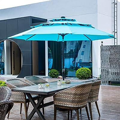 Klismos 10FT 3 Tiers Patio Umbrella with Solar Lights Windproof Outdoor Market Umbrella Large Waterproof Table Umbrella with Tilt and Crank(Coffee)