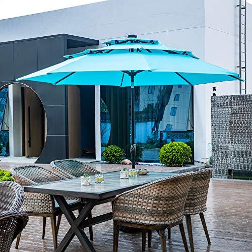 10FT 3 Tiers Patio Umbrella with Lights Windproof Outdoor Market