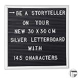 Relaxdays Letterboard mit Holzrahmen, 145 Buchstaben, Zahlen & Sonderzeichen, Rillentafel zum...