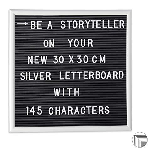 Relaxdays Letterboard mit Holzrahmen, 145 Buchstaben, Zahlen & Sonderzeichen, Rillentafel zum Stecken, 30 x 30 cm, weiß