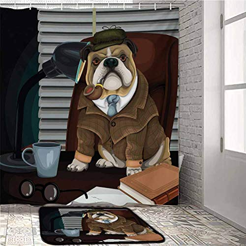 English Bulldog Bathroom Curtains Shower Set Traditional English Detective Dog with a Pipe and Hat Sherlock Holmes Image for Sofa/Living Room/Dining Room/Bedroom Multicolor