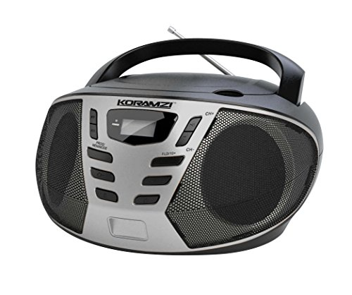 KORAMZI Portable CD Boombox with AM/FM Radio,AUX in,Top Loading CD Player,Telescopic Antenna, LCD Display for Indoor & Outdoor,Offices,Home,Restaurants,Picnics,School, Camping (Black/Silver) CD55-BKS