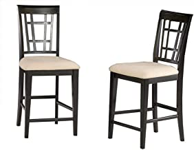 Atlantic Furniture Montego Bay Dining Chairs Set of 2 in Espresso with Cappuccino Cushion-Caramel Latte - Caramel Latte