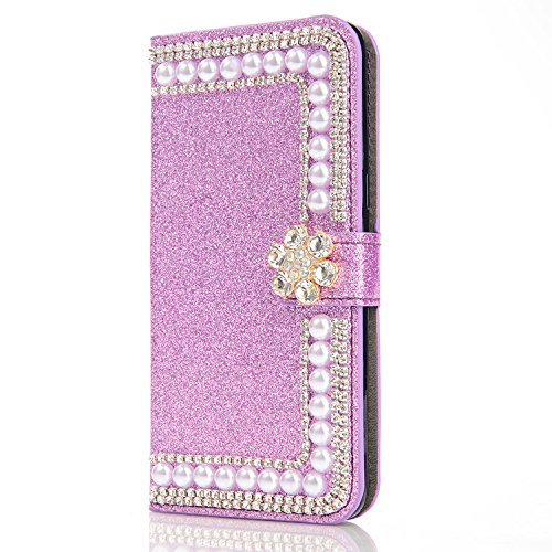 6City8Ni Ultra Slim Coque Étui Bookstyle Flip Magnétique Housse Wallet Protection Butterfly Feather Bling Glitter Brillante Diamant Protection Carte Crédit Portefeuille Cover pour Huawei P30 Lite