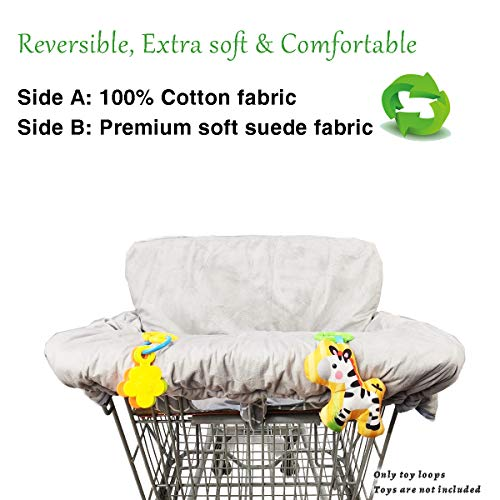 Shopping Cart Cover for Baby Cotton High Chair Cover, Reversible, Machine Washable for Infant, Toddler, Boy or Girl Large (Grey Arrow Print)