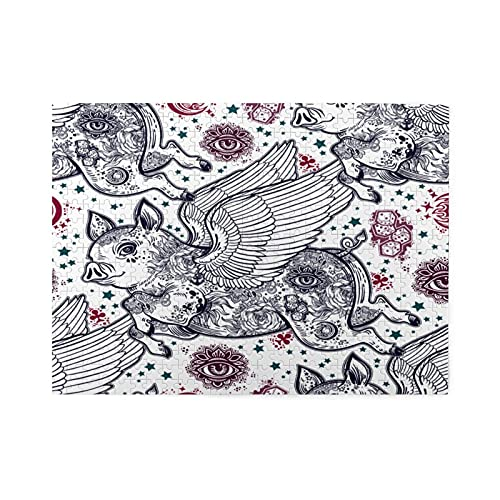 Jigsaw Puzzles 500 Pieces,Flying Winged Pig Piglet With Body In Flash Tattoos With Wings Fantastic Animal,Family Large Puzzle Game Artwork and Great Gifts for Adults Teens Kids