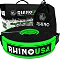 "Rhino USA Recovery Tow Strap 3"" x 30ft - Lab Tested 31,518lb Break Strength - Heavy Duty Draw String Included - Triple Reinforced Loop Straps to Ensure Peace of Mind - Emergency Off Road Towing Rope"