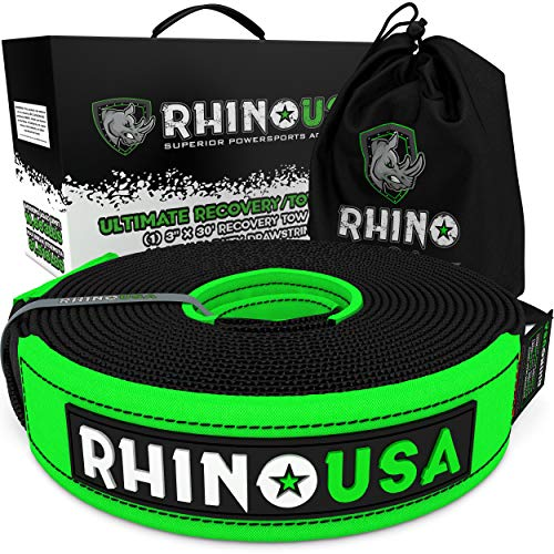 Rhino USA Recovery Tow Strap (3' x 30') Lab Tested 31,518lb Break Strength, Premium Draw String Bag Included, Triple Reinforced Loop Straps to Ensure Peace of Mind - Emergency Off Road Towing Rope