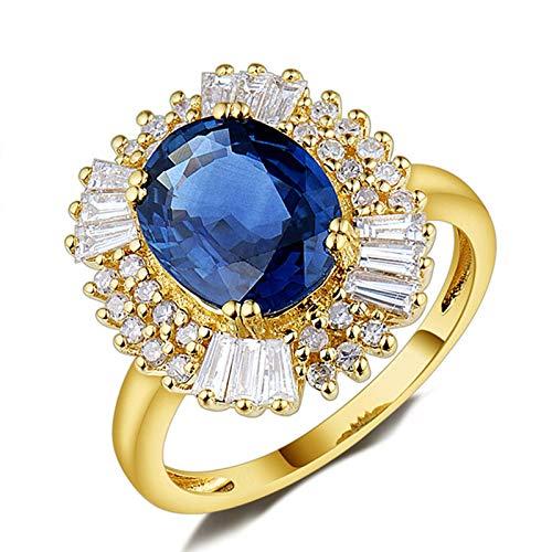 Daesar Anillos de Oro Amarillo Mujer 18 Kilates,Oval con Flor Zafiro Azul 2ct Diamante 0.8ct,Oro Azul Talla 6,75