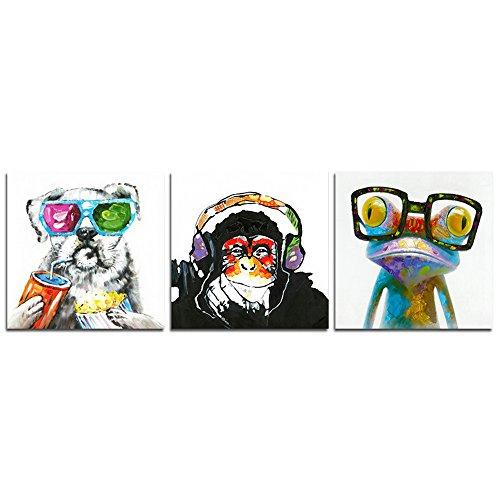 CrmOArt - 3 paneles de pintura abstractos Arte de la pared - Música Monkey Happy Dog Happy rana - Decoración del hogar del arte de la lona - 50x50cm