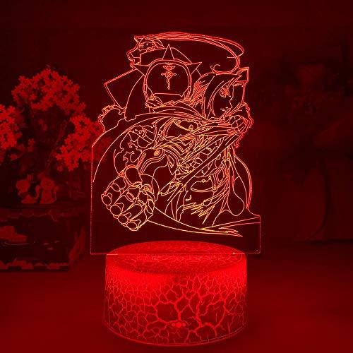 Luminária de mesa Lava de mangá Fullmetal Alchemist Elric Figura luz noturna LED 7 cores Decoração de quarto infantil USB Mesa 3D Decoração de rachaduras Bebê Dormir Crianças 7 cores Toque TIEHENG HOICHAN