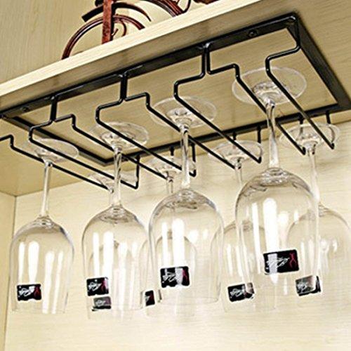 Tosbess Portabicchieri/porta calici - supporto con 4 binari per 9-12 Bicchiere di vino - Mantieni I bicchieri asciutti - a sospensione o a parete, cromato,40 ×22,5 × 5,5 cm