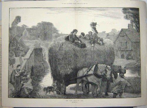 Impresión Antigua de los Caballos 1881 de Cultivo del Carro