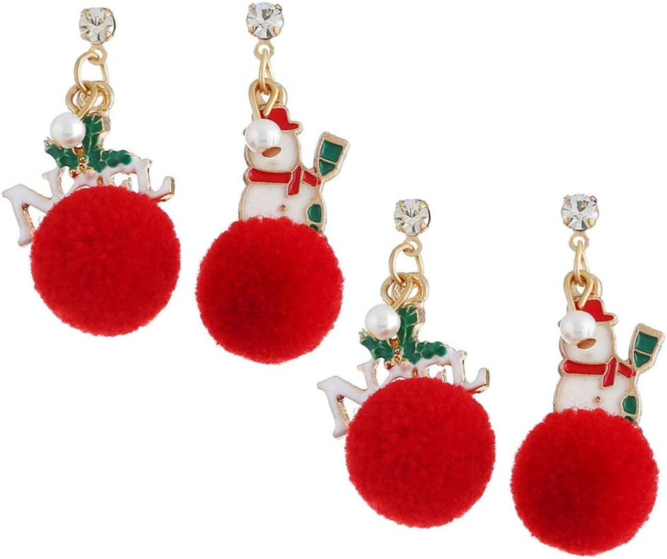BESTOYARD 2 Pairs of Christmas Enamel Earrings Metal Snowman Ball Earrings Christmas Jewelry Supplies Ear Jewelry for Woman Holiday Party Favor Gifts (White Red)