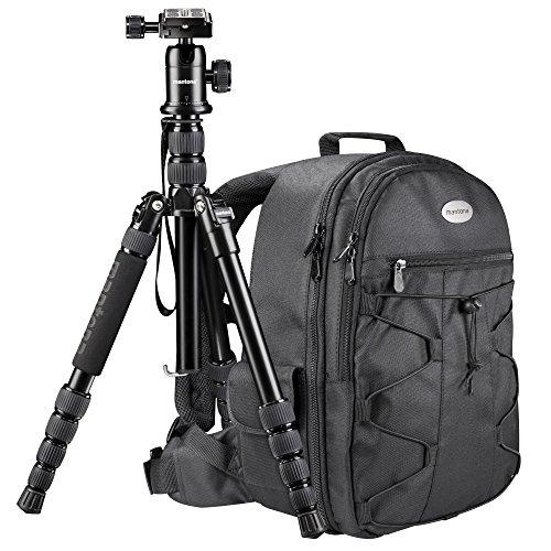 Mantona Reise Set inkl. SLR Kamerarucksack Azurit und Reisestativ DSLM Travel mit Kugelkopf und integriertem Einbeinstativ