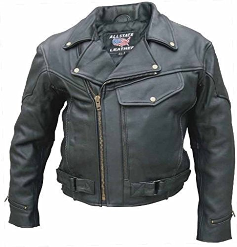 Allstate Leather Black Buffalo Leather Vented Motorcycle Jacket Zip Out Liner 66 Black