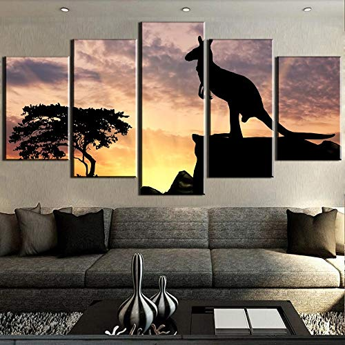 5 Canvas paintings Canvas Art Kangaroo Silhouette Sunset Cuadros Decoracion Paintings on Canvas for Home Decorations Wall Decor Frameless