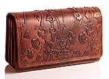 MATADOR Leder Damen Langbörse TüV geprüfter RFID & NFC Schutz Geldbörse Frauen Blumen Design Geldtasche