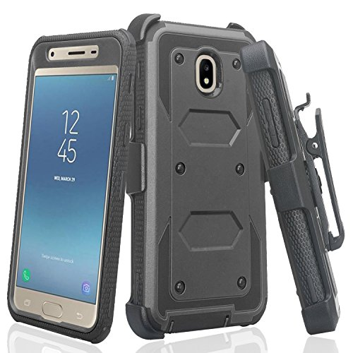 Galaxy J3 Orbit/J3 2018/J3 Star/J3 Achieve/J3v 3rd Gen/Express Prime 3/Amp Prime 3 Case,Holster Belt Clip Cover Shock Proof [Built in Screen Protector] Compatible for Samsung J3 Orbit Cases - Black