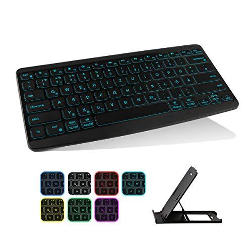 Tastiera Bluetooth con illuminazione a 7 colori, ultra sottile, senza fili, ricaricabile, supporto fino a 3 dispositivi, tastiera wireless QWERTZ per PC, tablet IOS/MacOS, Android e Windows