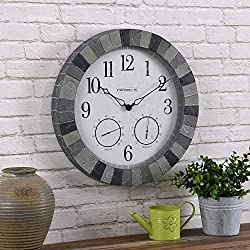 FirsTime & Co. Garden Stone Outdoor Wall Clock, Multi-Gray Stone (31157)