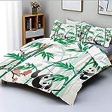 Juego de funda nórdica, bambúes gigantes de hierba leñosa y oso panda en trópicos chinos con estampado artístico Juego de cama decorativo de 3 piezas con 2 fundas de almohada, rosa verde blanco negro,