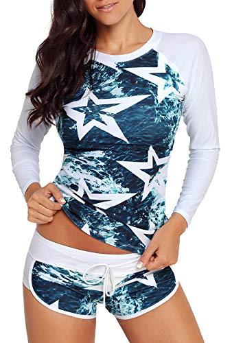 Runtlly Womens Long Sleeve Rash Guard Swimsuit Sun Protection Sport Wetsuit Two Piece Swimsuit Set S-XXXL LS910401 L White