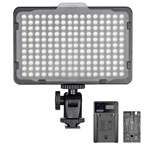 Neewer Dimmbare 176 LED Videolicht 5600K auf Kamera Lichtfeld mit 2200mAh Akku und USB Ladegerät für Canon Nikon Pentax Panasonic Sony usw. Digitale Spiegelreflexkamera Fotografie