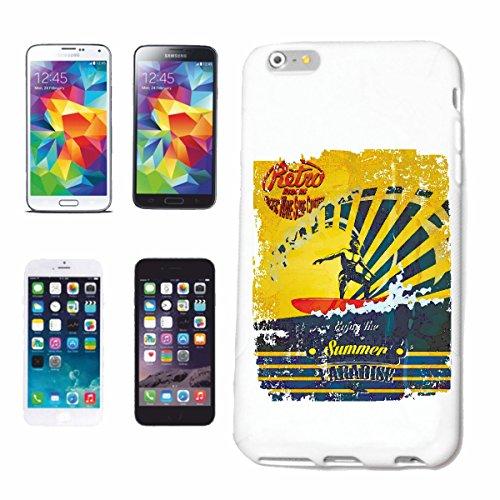 Reifen-Markt Hard Cover - Funda para teléfono móvil Compatible con Samsung Galaxy S6 Retro Playa del Verano de Las Olas de Surf Surf Surf Longboard Surf Beginner S