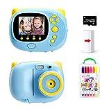 TOYOUSONIC Macchina fotografica istantanea per Bambini, Bambina Fotocamera 1080P Videocamera Digitale Portatile 3-12 anni LCD da 2 Pollici Supporto per la stampa di foto, 32G Scheda di Memoria (Blu)