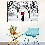 Ombrello SADHAF Soggiorno da donna Inverno Neve Scena Stampa Decorazione per la casa Poster Decorazione per comodino Immagine A2 40x50cm