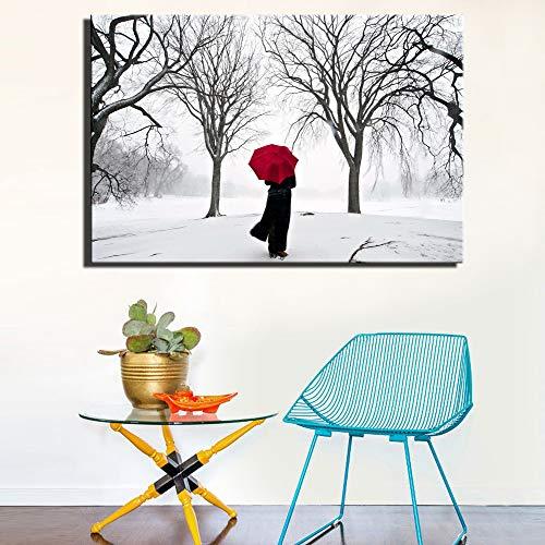 SADHAF Regenschirm Frauen Wohnzimmer Winter Schnee Szene Print Home Decoration Poster Nachttisch Dekoration Bild A1 30x40cm