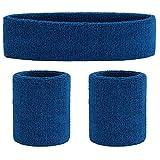Onupgo, set di fasce per sudore (3 pezzi) per sport fascia da polso a strisce in spugna per esercizi atletici e pallacanestro da polso e fasce per capelli che assorbono il sudore