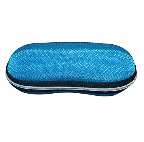 Dosige brillenkoker met ritssluiting en brillenkoker in brilvorm voor zonnebrillen, harde schaal, blauw