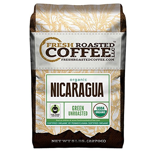 Fresh Roasted Coffee LLC, Green Unroasted Nicaraguan Coffee Beans, Fair Trade, USDA Organic, 5 Pound Bag