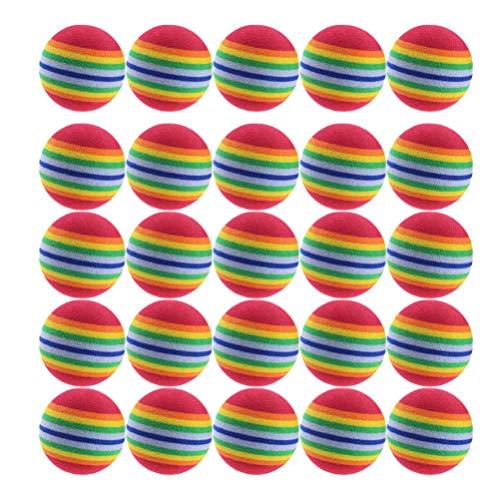 Tomaibaby 25pcs Bolas de Golf de Práctica, 42 mm Pelotas de Golf de Espuma de Rayas del Arco Iris Pelotas de Ayuda para El Entrenamiento (Rojo)