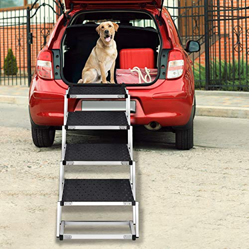 Zerria Upgraded Nonslip Dog Car Step, 4 Ladder Lightweight Portable Folding Aluminum Pet Ramp with...