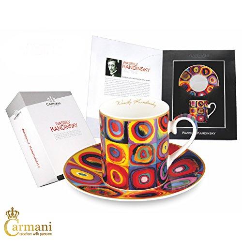 CARMANI - Tasse et soucoupe de thé, Fine Bone China, avec Wassily Kandinsky\