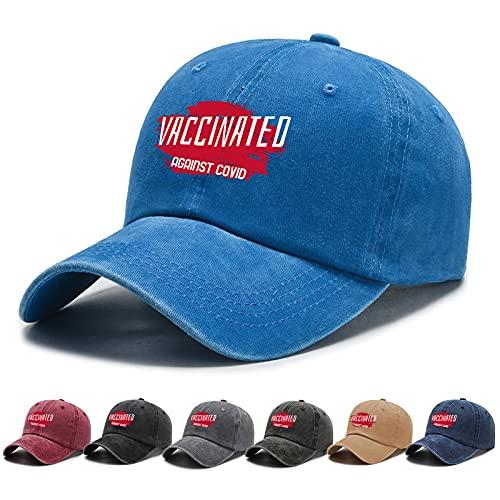BEABA Vaccinated Against Covid Hat Einstellbare Baseball Cap Unisex Waschbar Baumwolle Trucker Cap Dad Hat - Blau - Einheitsgröße
