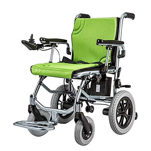 DYB Compact Powered Wheelchair, Singlecontrol Portable Folding Transport Chair, Electric Aluminum Alloy Lightweight Wheelchair, Including 10A Lithium Battery