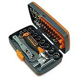 UXZDX Destornillador de trinquete 38 en 1 Establecer bits de Tornillo de precisión Spanner Universal Manija de rotación Hogar DIY Reparación Herramienta de Mano Kits