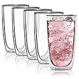 Doppelwandiges Trinkglas 450ml Wasserglas Glas doppelwandig Latte Macchiato Longdrink-Gläser von Dimono (4 Stück)