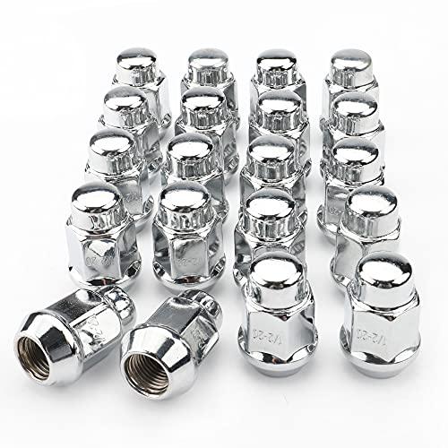"""Rying 20Pcs Chrome 1/2-20 Lug Nuts, Closed End Bulge Acorn Lug Nuts - 1.4 inch Tall - 3/4""""(19mm) Hex Wheel Lug Nut for 5lug"""